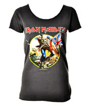 Amplified Iron Maiden's Trooper Skinny Fit T Shirt (Charcoal)