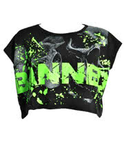 Banned Green Splat Crop Top (Black)