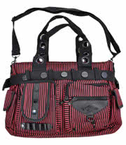 Banned Striped Steampunk Handbag (Red)