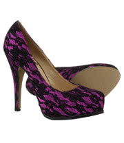 Bleeding Heart Lace Platform High Heels (Purple)