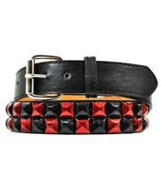 Blue Banana 2 Row Studded Belt (Black And Red)