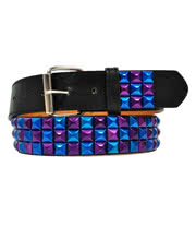 Blue Banana 3 Row Mirror Studded Belt (Blue/Purple)