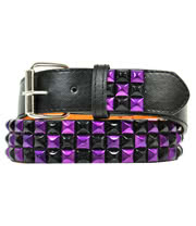 Blue Banana 3 Row Mirror Studded Belt (Black/Purple)