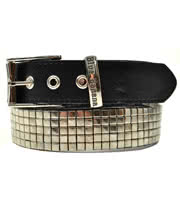 Blue Banana 5 Row Silver Studded Belt (Black)