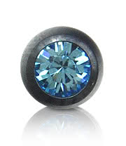 Black Titanium Jewelled 5mm Ball (Aqua)