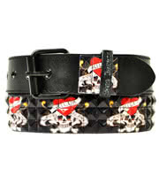 Blue Banana Love Kills Print 3 Row Studded Belt (Black/Red)