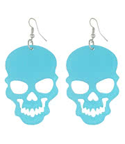 Blue Banana Cut Out Skull Earrings (Blue)