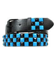 Blue Banana 3 Row Studded Belt (Black And Blue)