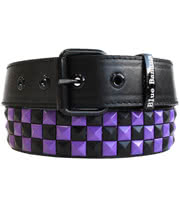 Blue Banana Checker 3 Row Studded Belt (Black/Purple)