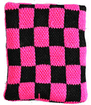 Blue Banana Black And Pink Checked Sweatband