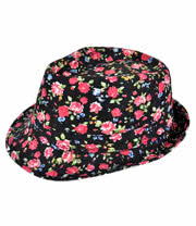 Blue Banana Dark Flower Trilby Hat (Black)