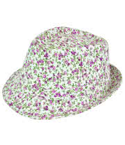Blue Banana Flower Trilby Hat (White/Pink)