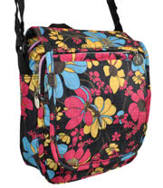 Blue Banana Large Flowers Festival Shoulder Bag (Black/Pink)