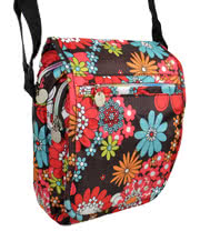 Blue Banana Large Flowers Festival Shoulder Bag (Brown/Red)