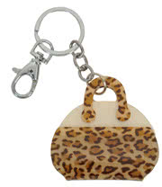 Blue Banana Leopard Print Handbag Keyring (Brown)
