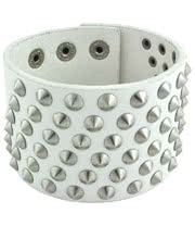 Blue Banana Multiple Studded Wristband (White/Silver)