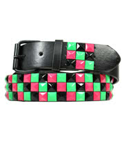 Blue Banana 3 Row Studded Neon Belt (Multi-Coloured)