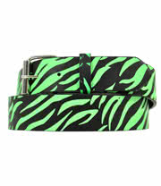 Blue Banana Neon Green Zebra Print Belt