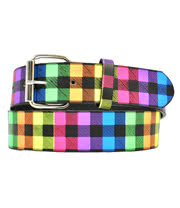 Blue Banana Neon Tartan Belt (Multi-Coloured)