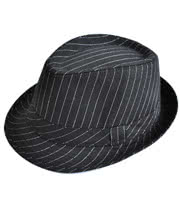 Blue Banana Pinstripe Porkpie Trilby Hat (Black)