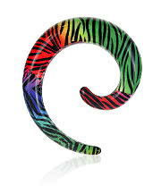 Blue Banana Spiral Ear Stretcher (Rainbow Zebra)