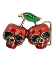 Blue Banana Cherry Skulls Belt Buckle (Red)