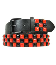 Blue Banana 3 Row Studded Belt (Black/Red)