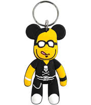 Blue Banana Rubber Pirate Teddy Keyring (Black)