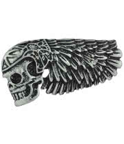 Blue Banana Skull/Wing Ring (Silver)
