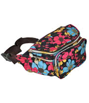 Blue Banana Flowers Small Bum Bag (Black/Pink)
