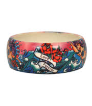 Blue Banana Waves Print Small Bangle