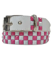 Blue Banana Splatter Checker 3 Row Studded Faux Leather Belt (Pink/White)