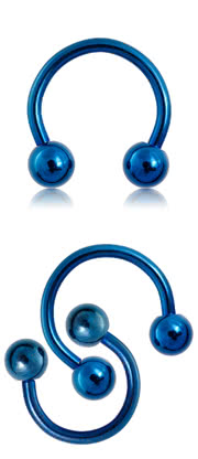 Blue Banana Steel Anodized 1.6mm Circular Barbell (Blue)
