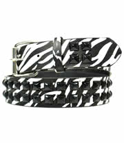Blue Banana Zebra Studded Medium Belt (Black/White)