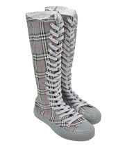 Blue Banana Extra Tall Tartan Boots (Grey)
