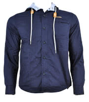 Criminal Damage Fly Jack Hooded Shirt (Navy)