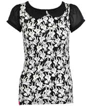 Flip Flop And Fangs Bunnies Collar Top (Black/White)