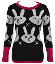 Flip Flop And Fangs Bunnies Jumper (Black)
