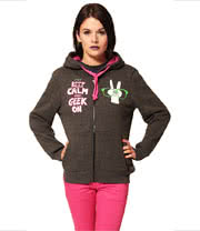 Flip Flop And Fangs Keep Calm And Geek On Hoodie (Grey)