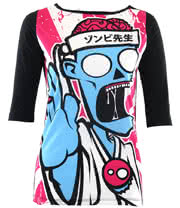 Flip Flop And Fangs Kung Fu Zombie Top (Black)