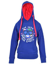 Flip Flop And Fangs Geek Skinny Fit Hoodie (Blue)