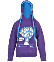Flip Flop And Fangs Penguins Skinny Fit Hoodie (Purple)