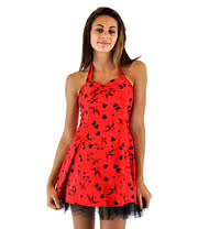 H&R Red And Black Tattoo Halterneck Dress