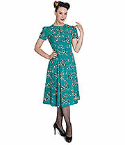 Hell Bunny Birdy Dress (Teal)
