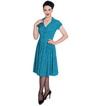 Hell Bunny Harriet Polka Dress (Teal)