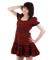 Hell Bunny Mavis Tartan Dress (Red)