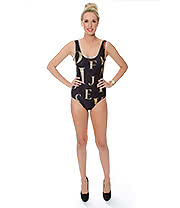 Insanity Gold Letters Bodysuit (Black)