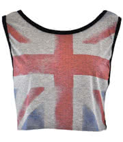 Insanity Union Jack Crop Top (Grey)