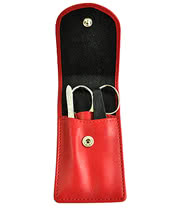 Leather 3 Piece Manicure Set (Red)