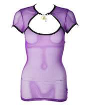 Lip Service Fash-ist Fishnet Top With Padlock (Purple)